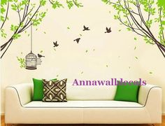 birds' home:tree and birds wall decals,wall decals, nature wall decals, children wall decals,vinyl wall decal, nature wall decal stickers,. $62.00, via Etsy.