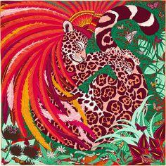 """Carré Hermès - """"Jaguar Quetzal"""""""
