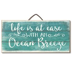 "Highland Graphics ""Life is at Ease with an Ocean Breeze"" Wood Sign - Beachfront Decor Wood Home Decor, Unique Home Decor, Wooden Decor, Rustic Decor, Wine Racks, Beach Signs Wooden, Beachy Signs, Driftwood Signs, Tropical Home Decor"