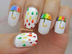 Rainbow Umbrella Nail Wrap | chichicho~ nail art addicts
