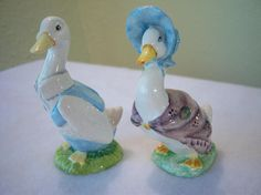 Jemima Puddleduck,Mr. Drake Puddleduck,Beatrix Potter,porcelain figurines,1948,1979,F. Warne Co Ltd.,Beswick England,nursery decor