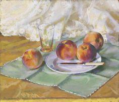 Giacomo Balla - Torino 1871 - Roma 1958 - Pesche romane, 1950 ca. - Olio su tavola, 44x51,5 cm.