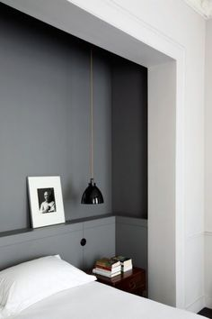 Grey feature wall in white bedroom, built ins? Renovation Inspiration: Make the Most of Your Bedroom with Smart Built-Ins Home Bedroom, Bedroom Decor, Master Bedroom, Bedroom Ideas, Bedroom Nook, Modern Bedroom, Bedroom Lighting, Grey Bedrooms, Bedroom Furniture
