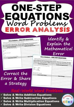 Have your students apply their understanding of ONE-STEP EQUATIONS with these ERROR ANALYSIS activities. Giving students opportunities to identify and correct errors allows them to show their understanding of mathematical concepts. Perfect for math homework, math stations, & math assessments. Topics include: Solving & Writing Addition Equations & Subtraction Equations ✔ Solving & Writing Multiplication Equations & Division Equations Middle School Math Common Core 6EE5, 6EE7, 6EE9