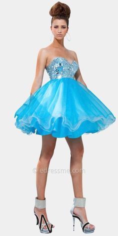 corset beaded royal blue ruffle poofy short prom homecoming party ...