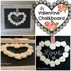 Priscillas: Valentine Chalkboard with Crocheted Rose Wreath