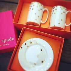Kate Spade gold metallic confetti mugs and plates