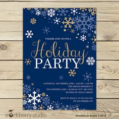 Winter Wonderland Holiday Party Invitation Navy Blue, Gold and White - Snowflake Holiday Invitation
