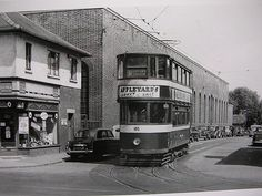 """The old tram/bus depot on St Chads Rd. Now an apartment complex. 185 is shown leaving the turnaround, and is directly over the """"Hadura Switch"""" which is still to be seen in the road. Old Pictures, Old Photos, Leeds City, West Yorkshire, My Town, Town Hall, British Isles, Days Out, Buses"""