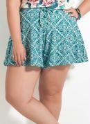 Short Soltinho Quintess Azulejo Plus Size