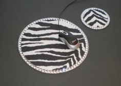 ZEBRA PRINT & BLING Mousepad/Coaster Set by LaurieBCreations, $14.00