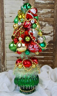 Green Glass Topiary by Glittermoon Vintage Christmas