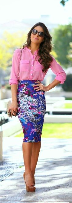 Printed Pencil Skirt with Pink Top and Nude Pumps ...