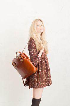Boho dress and leather back-pack