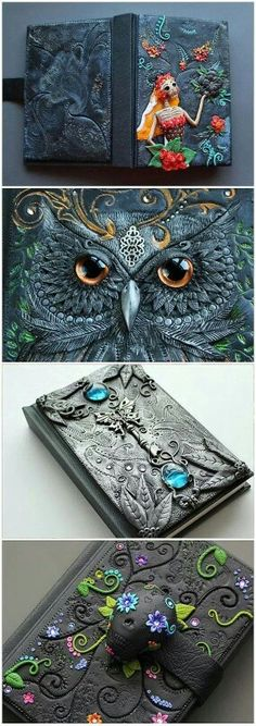"""Yes, it is polymer clay - Journals by Etsy seller MyMandarinDucky. She makes some amazing things!""""--Polymer Clay on a journal."""" I love the owl one! Polymer Clay Kunst, Fimo Clay, Polymer Clay Projects, Polymer Clay Creations, Crea Fimo, Handmade Books, Clay Tutorials, Journal Covers, Book Of Shadows"""
