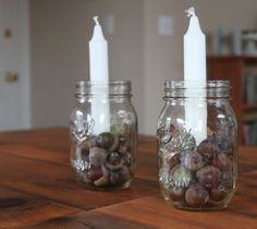 have these lite during evening along tables, but add some color, and a lil more items in mason jar