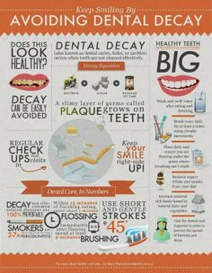 Avoiding Dental Decay.. FLOSS right  after eating, the more  you floss the cleaner your teeth will be, the less decay you will have and the whiter your teeth will look too!