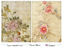 cHiNeSe fLoWeRs - LARGE 5 x 7 inch - Digital Collage Sheet (no 250)
