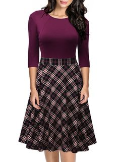 Missmay Women's Vintage Retro Plaid Patchwork A-line Cocktail Party Dress…
