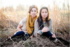 winter sister portrait session in a field