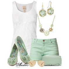 Mint and Lace Shorts Set :)