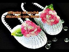 Chinelo de Croche   Euroroma Moda Verão   Chinelo de crochê decorado com flores   Parte 2 - YouTube
