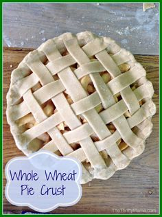 Whole Wheat Pie Crust Recipe 2 cups whole wheat flour tsp sea salt cup softened coconut oil or softened butter Approximately cup cold water Healthy Desserts, Just Desserts, Delicious Desserts, Dessert Recipes, Yummy Food, Healthy Muffins, Cookbook Recipes, Whole Wheat Pie Crust, Pie Crust Recipes