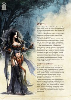 DnD Homebrew — Witch Class by Zarieth Dungeons And Dragons Classes, Dungeons And Dragons Characters, Dungeons And Dragons Homebrew, Dnd Characters, Fantasy Characters, Mythical Creatures Art, Mythological Creatures, Magical Creatures, D D Races