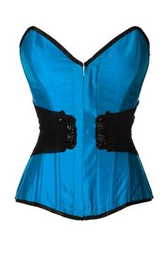 c43793a3ec Turquoise Dupion Silk Overbust Corset
