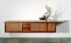 Hanging wall case with free edge (executed 1963), George Nakashima, Edmund J. Bennett Collection