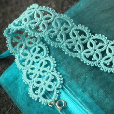 Delicate aqua blue lace bracelet. $25.00, via Etsy.