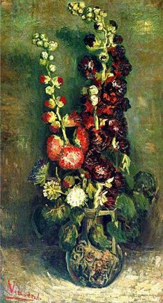 Van Gogh a vase of hollyhocks