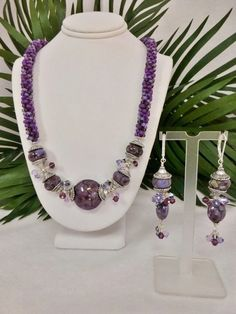 Custom Made Set - Shades Of Purple Kumihimo Necklace With Lampwork Focal Beads & Matching Earrings