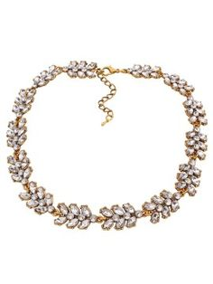 Shop Golden Rhinestone Leaf Curb Necklace from choies.com .Free shipping Worldwide.$3.11