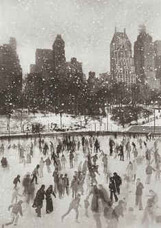 "huariqueje:  ""  Wollman Rink, Central Park, New York - Edward Pfizenmaier , 1954.  American , b.1926-2016  platinum-palladium print, printed later , 8/80 , 19¾ x 14in. (50.5 x 35.5cm.)  """