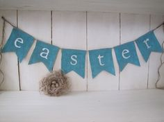 easterglittered burlap banner by funkyshique on Etsy, $28.00