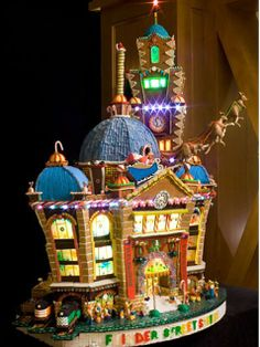 The artists behind this model of Melbourne, Australia's Flinders Street took the station's domed roof to the next level, installing little lights and even flying reindeer.