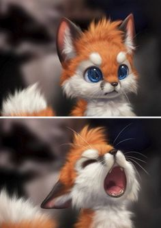 Artist draws the cutest animals ever! - Artist draws the cutest animals ever! – Tattoo Spirit Artist draws the cutest animals ever! Baby Animals Super Cute, Cute Little Animals, Adorable Animals, Animals Beautiful, Cute Fantasy Creatures, Cute Creatures, Cute Cartoon Animals, Anime Animals, Cute Fox