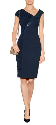 VERSACE Ruched Dress with Sequin Panel #Stylebop