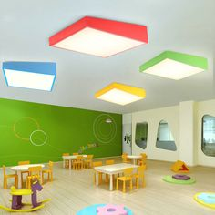 Shop for Nordic Simple Style Flush Mount Creative Geometry Shape Children Bedroom Hallway Light 4 Colors Available at with the lowest price and top service! Daycare Design, Classroom Design, Classroom Decor, Kindergarten Interior, Kindergarten Design, School Building Design, School Design, Design Maternelle, Bright Hallway