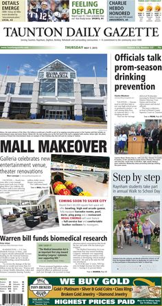 The front page of the Taunton Daily Gazette for Thursday, May 7, 2015. #SilverCityGalleria #malls