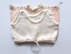 Pagliaccetto lana con laccetti per bambina senza maniche body di lana a righine bianco e rosa 0-6 mesi