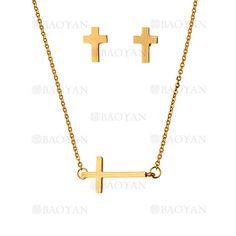 collar y aretes de cruz de dorado en acero inoxidable-SSNEG483489