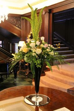 """Flower Design Events: Elegant Welcome Vase """"Gold & Ivory"""" Eaves Hall Wedding Day"""