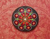 Jewel Drop Mandala Painted Stone- Autumn Oak