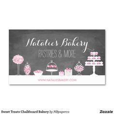 Bakery business cards templates free google search business sweet treats chalkboard bakery business card reheart Images