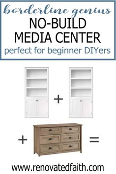 Here is a budget-friendly tutorial for a DIY Entertainment Center with bookshelves and a dresser. Plans for how to make a custom entertainment center with bookshelves without building a thing! This easy diy media center hack cheap and works with any décor – farmhouse, modern, coastal, etc. Included is how to paint a laminate entertainment center with drawers/shelves and color ideas Eco Furniture, Furniture Projects, Furniture Makeover, Diy Projects, Furniture Refinishing, Rustic Furniture, Farmhouse Furniture, Antique Furniture, Primitive Furniture