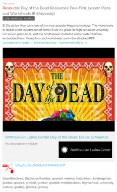 FREE Day of the Dead Resources: Film, Lesson Plans and Worksheets - Kindergarten through University | Teaching Spanish and Latin American Studies #dayofthedead #diadelosmuertos