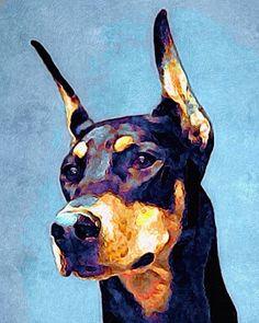 Doberman Pinscher colorful & proud 8x10 by AnimalArtIncognito