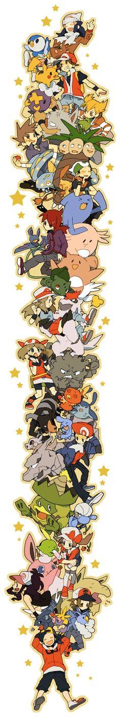 Blue (Pokémon), Diamond (Pokémon), Fire (Pokémon), Gold (Pokémon), Green (Pokémon), Haruka (Pokémon), Hikari (Pokémon), Kotone (Pokémon), Pearl (Pokémon), Ruby(Pokémon), Silver(Pokémon), Touko (Pokémon), Touya (Pokémon), Bagon, Blissey, Bulbasaur, Chansey, Cubone, Drifloon, Exeggutor, Graveler, Houndoom, Ludicolo, Mantyke, Onix, Pikachu, Piplup, Plusle, Primeape, Smoochum, Torchic, Vigoroth, Wobbuffet, Zubat (by Pixiv Id 424248)